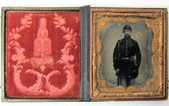 Union Infantryman with Musket Ambrotype Sixth Plate