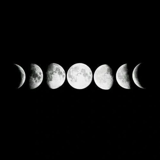 Moon cycle in black background