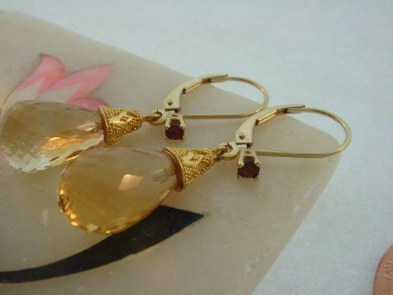 Citrine Briolette Drop Earrings