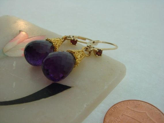 Amethyst and Pyrope Briolette Drop Earrings