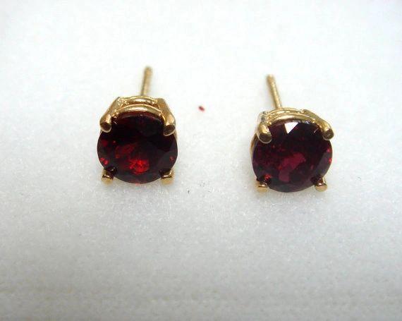 Pyrope Garnet Stud Earrings