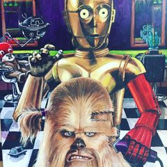 Painting of C3PO butchering Chewys hair