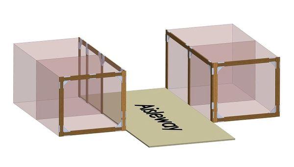 4 Stall Kit - 2 stalls on each side of aisle