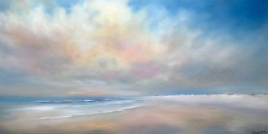 Original ocean painting by Nancy Hughes Miller, contemporary, colorful coastal landscapes, NC artist