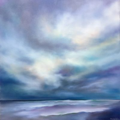 Contemporary seascape oil painting available on line with Williams Sonoma Home. Seaside Light 30x30