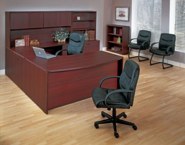 "OSP NAPTYP15 Corner Bowfront ""U"" Desk with Hutch, Lateral File and Overhead Storage"