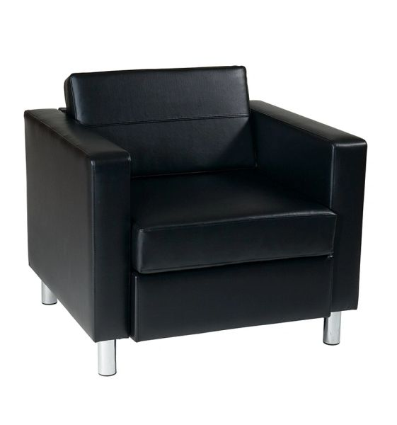 OSP Worksmart Pacific arm chair in Black, Espresso, Lipstick, Snow, Java, Buff, Blue or Sage Vinyl