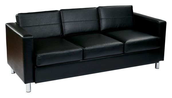OSP Worksmart Pacific Sofa in Black, Espresso or Blue Vinyl