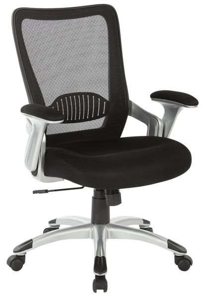 OSP Mesh back office chair with faux leather or mesh seat. Adjustable padded flip arms and silver nylon base.
