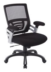 OSP Mesh back office chair with faux leather or fabric seat. Adjustable padded arms and black nylon base with silver accents