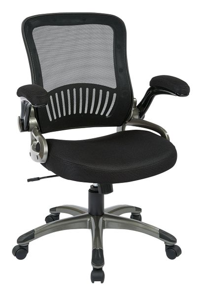OSP Mesh back office chair with black fabric mesh seat. Coated finish base and flip arms