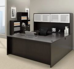 "Executive ""U"" Desk with Glass Hutch, One BBF Pedestal and One FF Pedestal 71"" x 108"" - OTG - AOF"