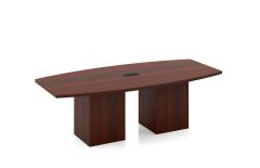 8' Pacific Coast Boat Shaped Conference Table with Cube Base and Grommets