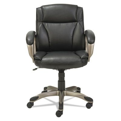 Alera® Veon Series Low-Back Leather Executive Chair w/Coil Spring Cushion, Black