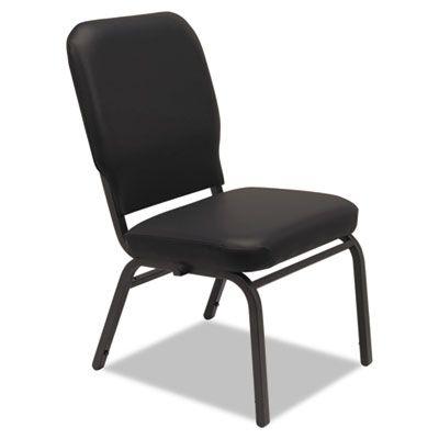Alera® Oversize Stack Chair , Black Anitmicrobial Vinyl Upholstery, 2/Carton