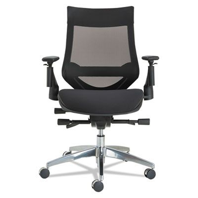 Alera® EB-W Series Pivot Arm Multifunction Mesh Chair, Black/Aluminum Frame