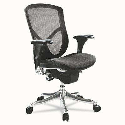 Alera® EQ Series Ergonomic Multifunction Mid-Back Mesh Chair, Aluminum Base