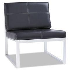 Ispara Series Armless Cube Chair, Black/silver