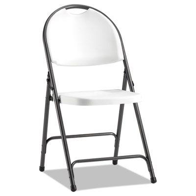 Molded Resin Folding Chair, White/black Anthracite, 4/carton