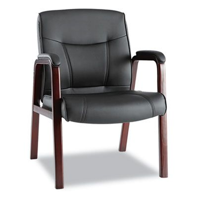 Madaris Series Leather Guest Chair W/wood Trim, Four Legs, Black/mahogany