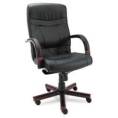 Madaris Series High-Back Knee Tilt Leather Chair W/wood Trim, Black/mahogany