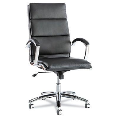 Neratoli Series High-Back Swivel/tilt Chair, Black Soft Leather, Chrome Frame