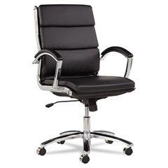 Neratoli Series Mid-Back Swivel/tilt Chair, Black Leather, Chrome Frame