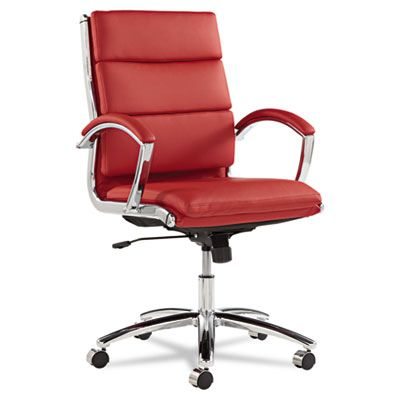 Neratoli Series Mid-Back Swivel/tilt Chair, Red Leather, Chrome Frame
