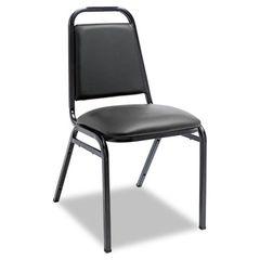 Padded Steel Stack Chair W/square Back, Black Vinyl, Black Frame, 4/carton