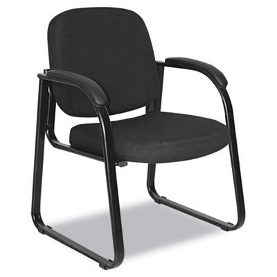 Reception Lounge Series Sled Base Guest Chair, Black Fabric