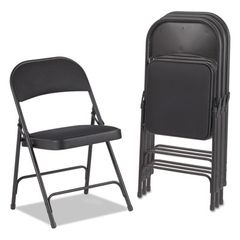 Steel Folding Chair With Two-Brace Support, Fabric Back/seat, Graphite, 4/carton