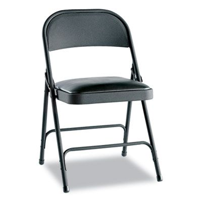 Steel Folding Chair With Two-Brace Support, Padded Seat, Graphite, 4/carton