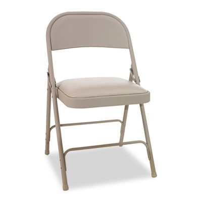 Steel Folding CALEFC94VY50T chair With Two-Brace Support, Padded Seat, Tan, 4/carton