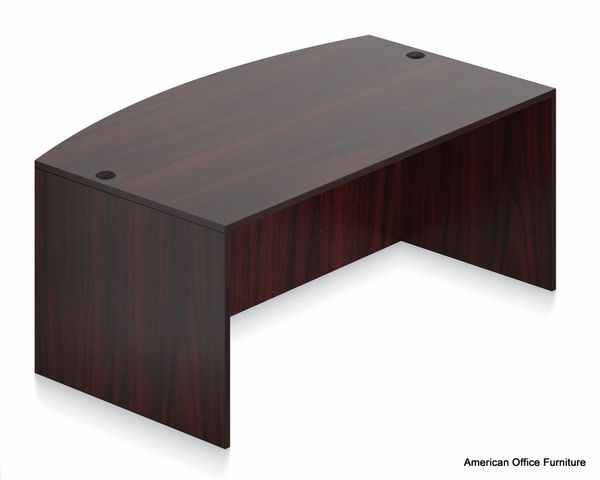 "Laminate Bow Front Desk Shell 71"" x 41"" - AOF K5189"