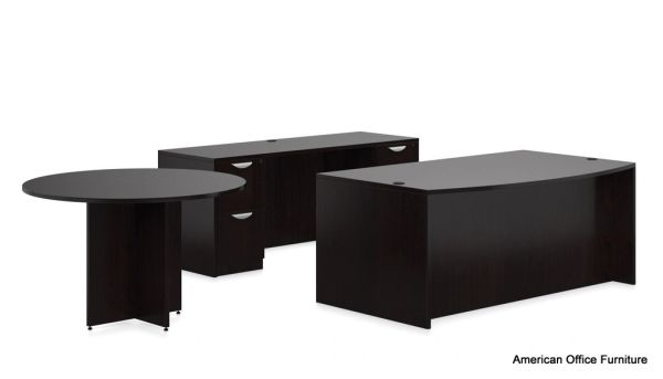 "Bowfront Desk with (2)BBF Pedestals, Credenza with (2)FF Pedestals & 48"" Round Conference Table - OTG - AOF"