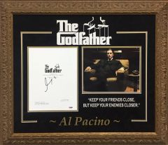 Al Pacino signed The Godfather movie script cover