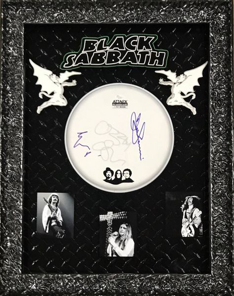 Signed by 3 Black Sabbath Drum head Shadowbox
