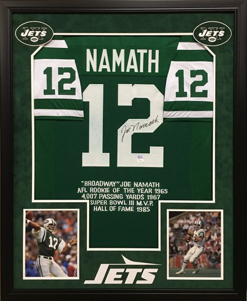 43c1aa974ee Joe Namath New York Jets signed stat jersey | Autographed Framed ...