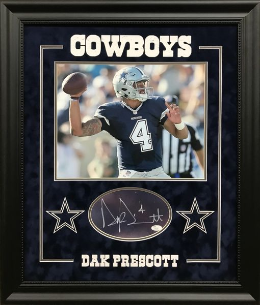 Dak Prescott signed cut with 11x14 photo