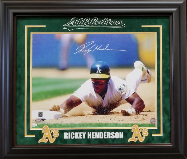 "Rickey Henderson ""Oakland A's"" Stolen base signed 16x20"