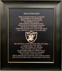 "ENGRAVED RAIDERS PLAQUE ""AUTUMN WIND"" POEM"
