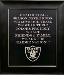"ENGRAVED RAIDERS PLAQUE ""RAIDERS FAMILY"""