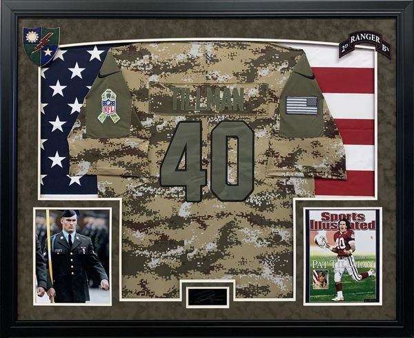 PAT TILLMAN ARMY JERSEY WITH AMERICAN FLAG LASERED AUTOGRAPH