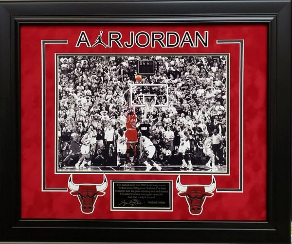Michael Jordan Last Shot 11x14 Photo with Engraved Autograph and Quote