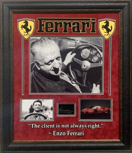 Enzo Ferrari Framed display with engraved autograph