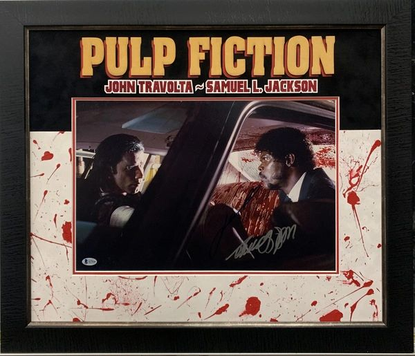 PULP FICTION 12X18 DUEL SIGNED JOHN TRAVOLTA & SAMUEL L. JACKSON