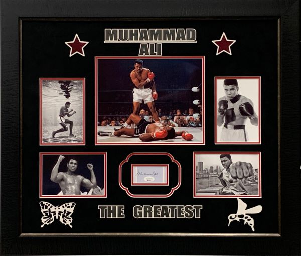 MUHAMMAD ALI SIGNED CUT FRAMED COLLAGE