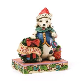 Jim Shore Heartwood Creek Christmas Dog With Wreath 4034391
