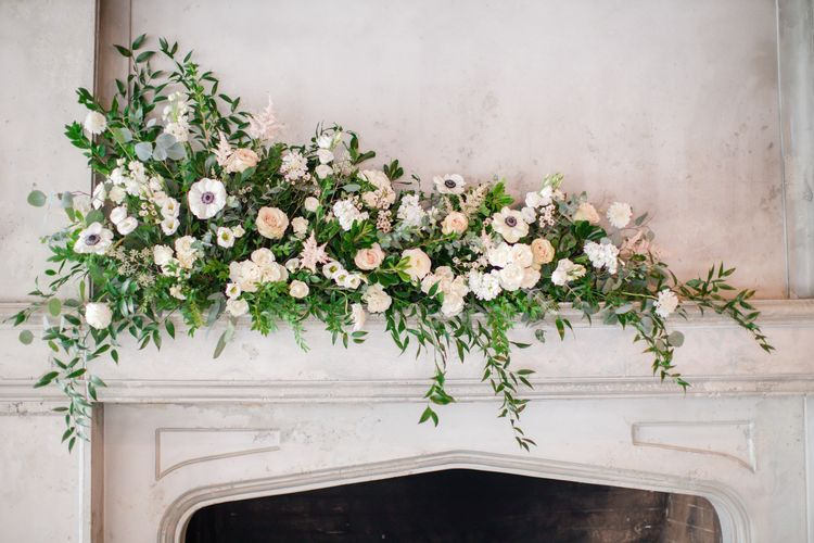 Calgary Wedding Flowers & Florist | Sweet Bloom | Blooming Fireplace Mantle