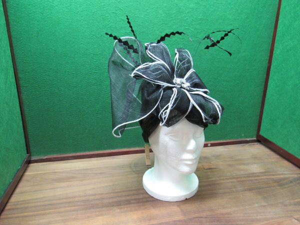 C.C. Open Top Black and White Hat